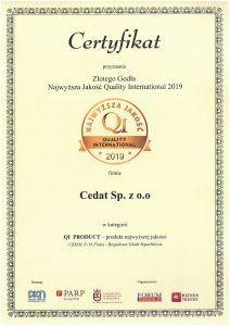Złote Godło Najwyższa Jakość Quality International 2019